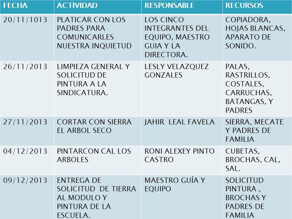 FECHA ACTIVIDAD. RESPONSABLE. RECURSOS. 20/11/1013. PLATICAR CON LOS PADRES PARA COMUNICARLES NUESTRA INQUIETUD.