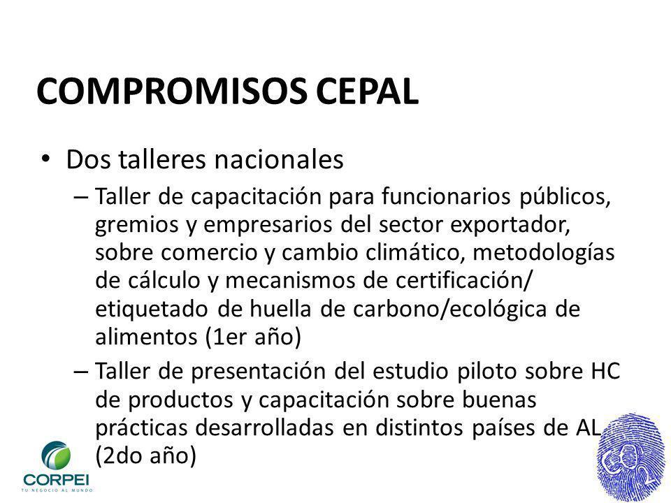 COMPROMISOS CEPAL Dos talleres nacionales