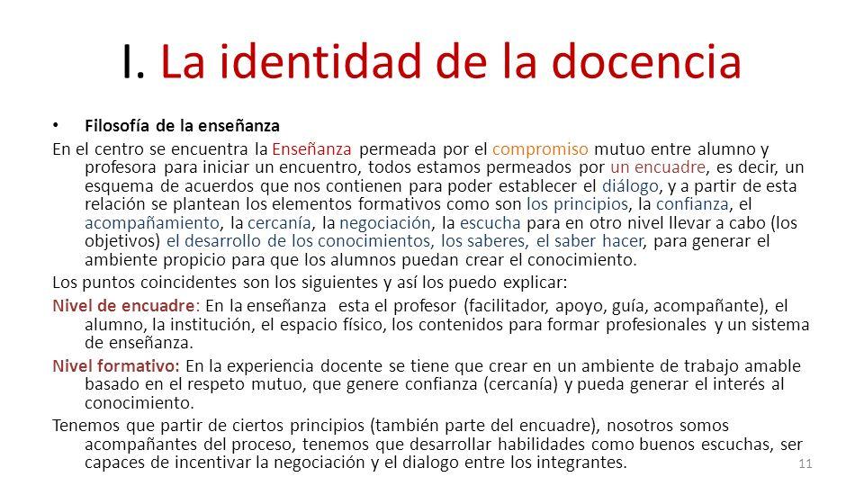 I. La identidad de la docencia