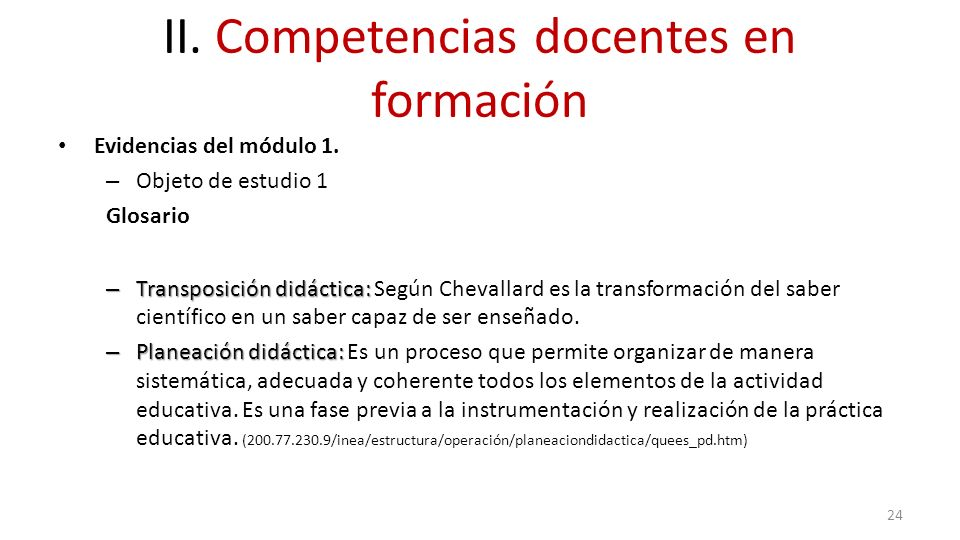 II. Competencias docentes en formación