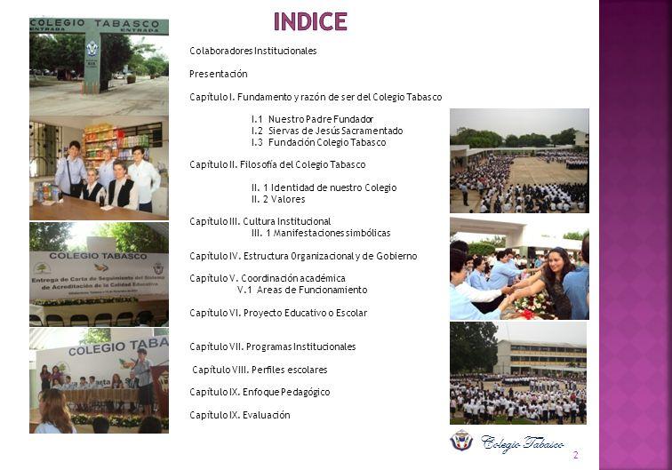 INDICE Colegio Tabasco Colaboradores Institucionales Presentación