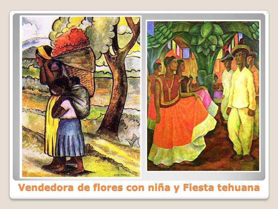 Vendedora de flores con niña y Fiesta tehuana
