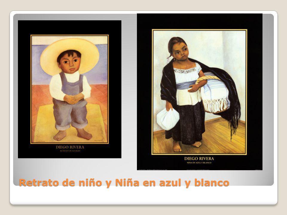 Retrato de niño y Niña en azul y blanco