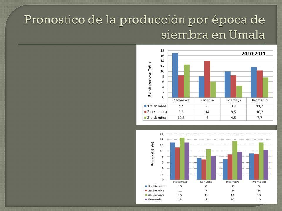 Pronostico de la producción por época de siembra en Umala