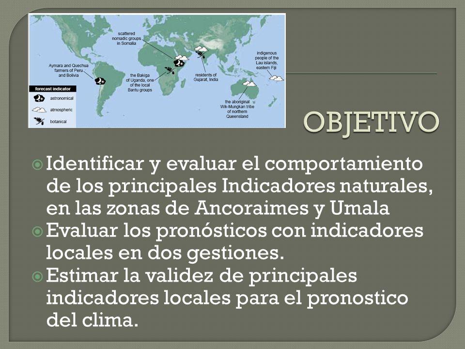 OBJETIVO Identificar y evaluar el comportamiento de los principales Indicadores naturales, en las zonas de Ancoraimes y Umala.