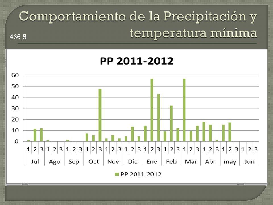 Comportamiento de la Precipitación y temperatura mínima