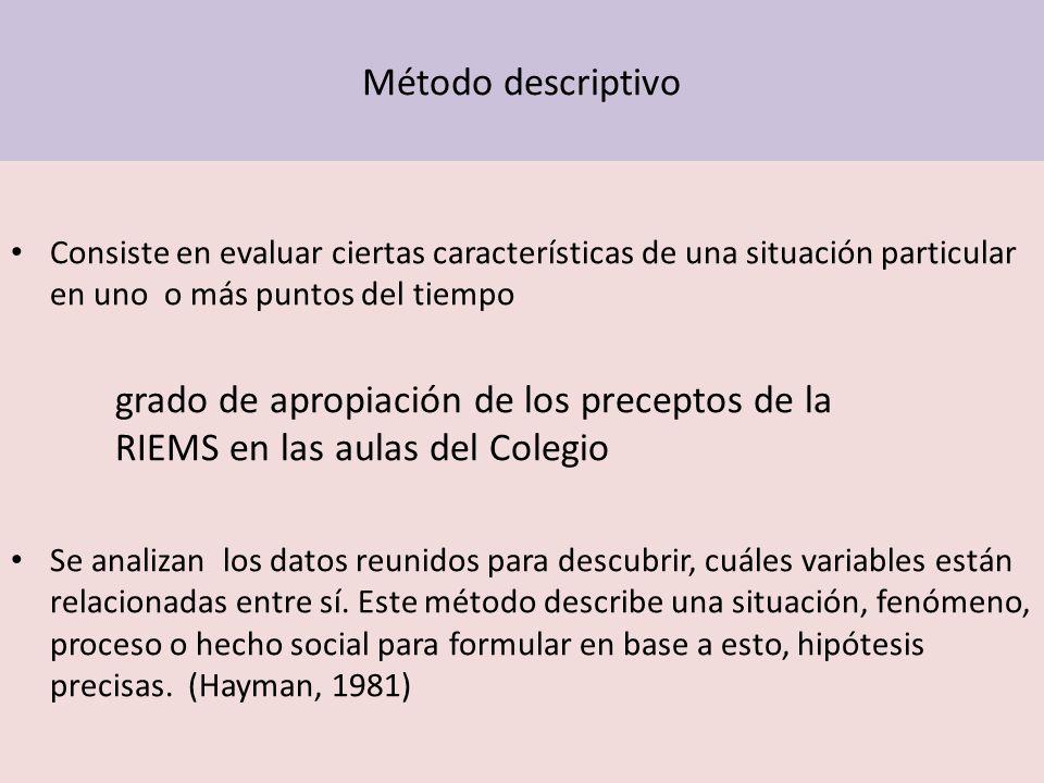 Método descriptivo Consiste en evaluar ciertas características de una situación particular en uno o más puntos del tiempo.