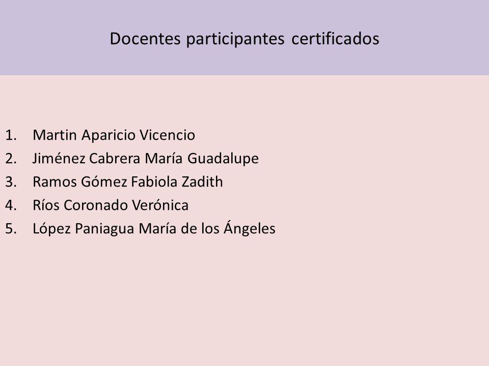 Docentes participantes certificados