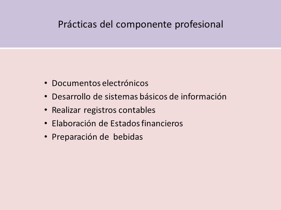 Prácticas del componente profesional