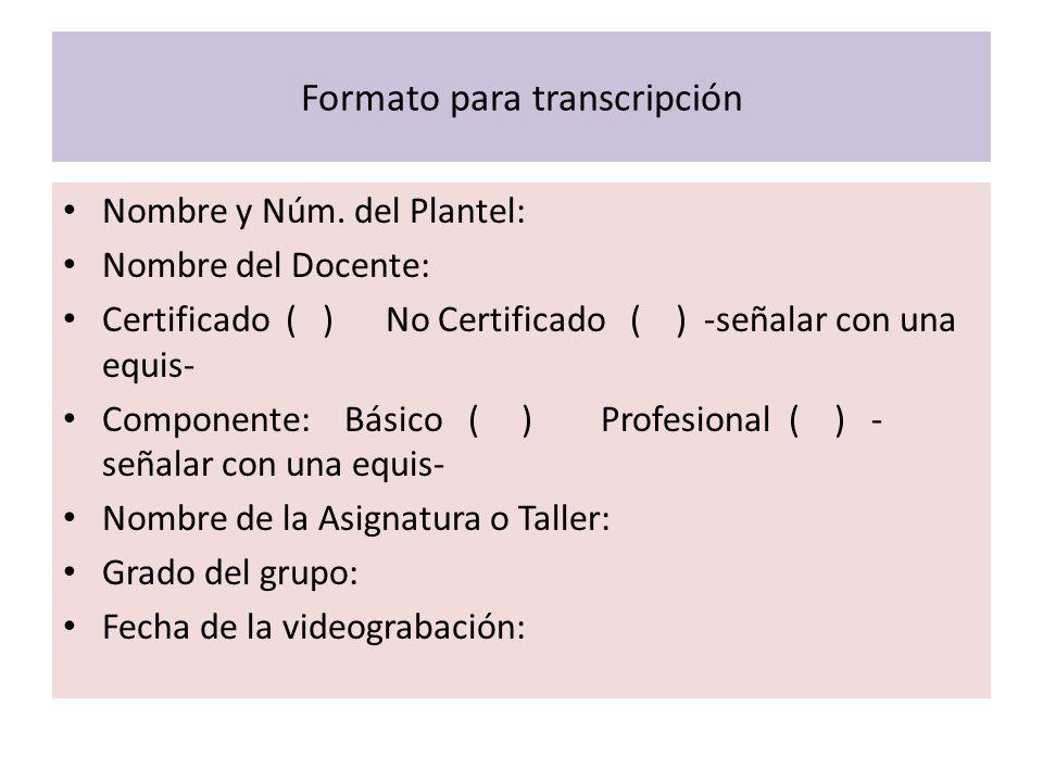 Formato para transcripción