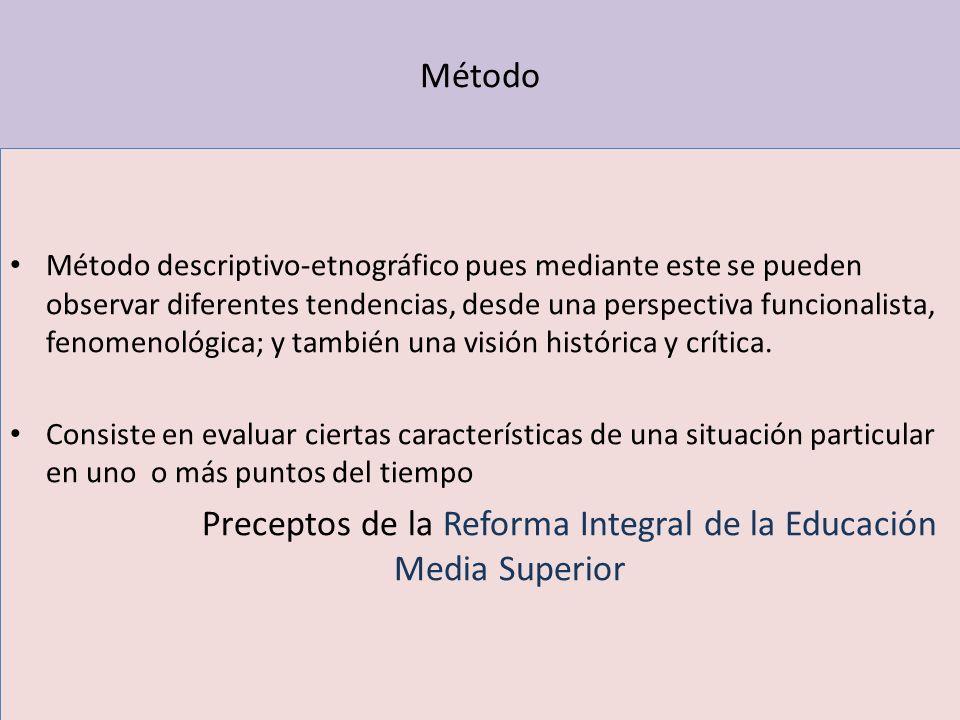 Preceptos de la Reforma Integral de la Educación Media Superior