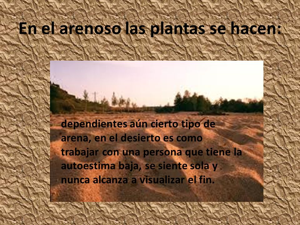 En el arenoso las plantas se hacen: