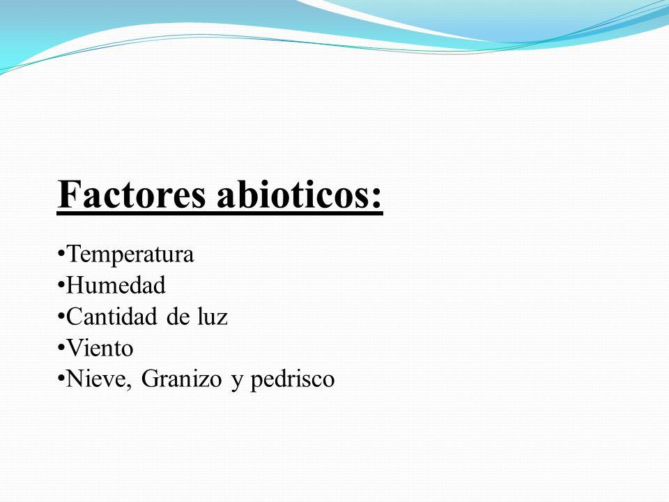 Factores abioticos: Temperatura Humedad Cantidad de luz Viento