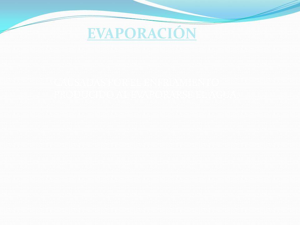 EVAPORACIÓN CAUSADAS POR EL ENFRIAMIENTO PRODUCIDO AL EVAPORARSE EL AGUA. evaporación.