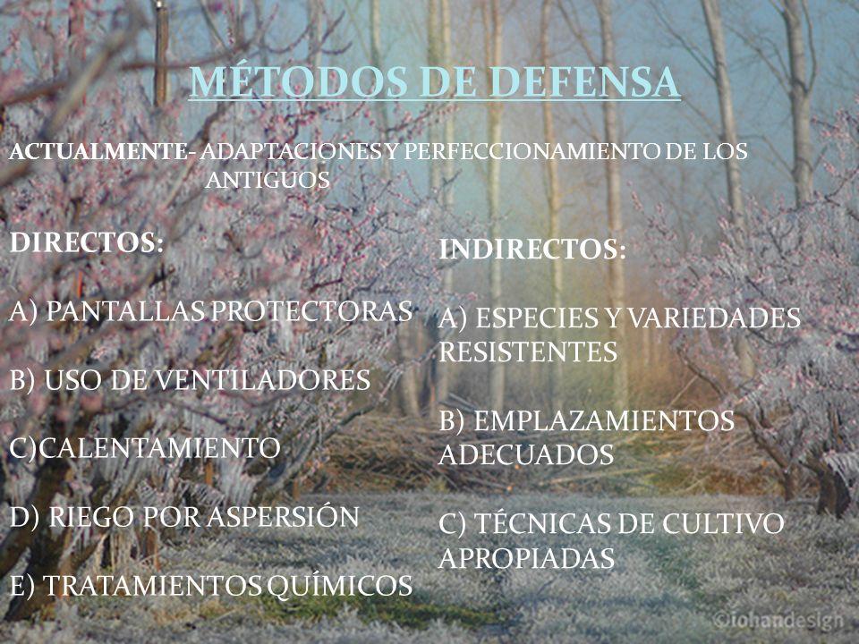 MÉTODOS DE DEFENSA DIRECTOS: INDIRECTOS: A) PANTALLAS PROTECTORAS