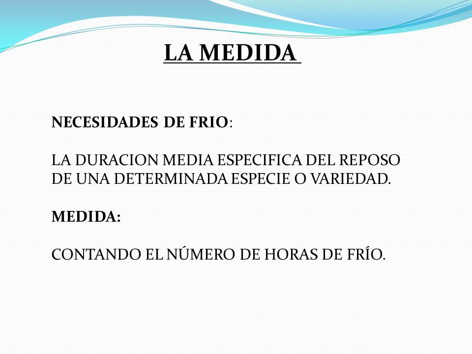 LA MEDIDA NECESIDADES DE FRIO: