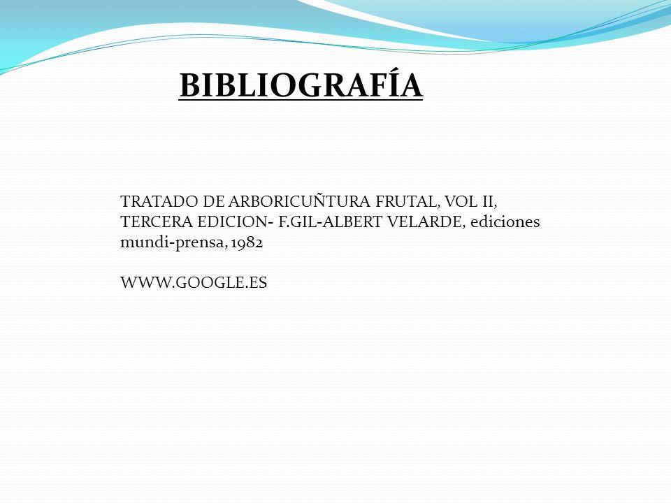BIBLIOGRAFÍA TRATADO DE ARBORICUÑTURA FRUTAL, VOL II, TERCERA EDICION- F.GIL-ALBERT VELARDE, ediciones mundi-prensa, 1982.