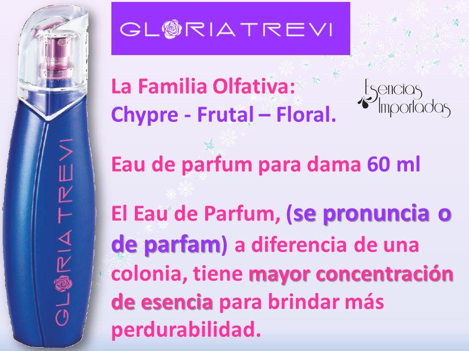 La Familia Olfativa: Chypre - Frutal – Floral. Eau de parfum para dama 60 ml.