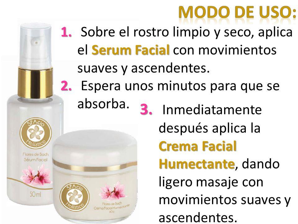 Modo de uso: Sobre el rostro limpio y seco, aplica el Serum Facial con movimientos suaves y ascendentes.