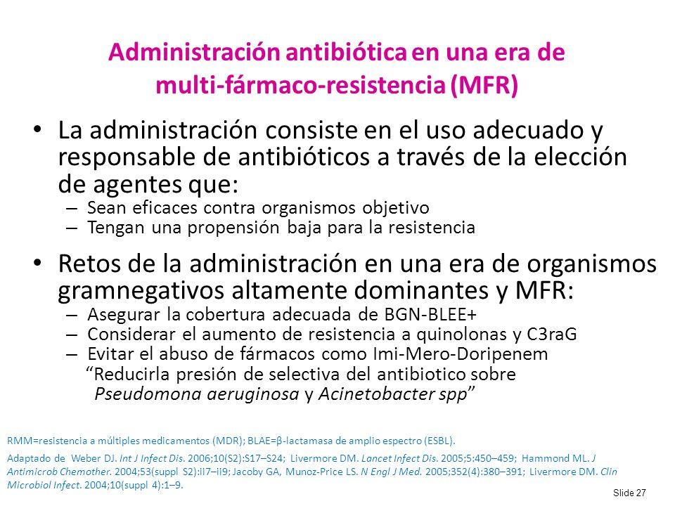 NUEVA Administración antibiótica en una era de multi-fármaco-resistencia (MFR) Bullet 1: