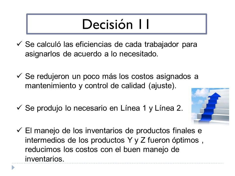 Decisión 11 Se calculó las eficiencias de cada trabajador para asignarlos de acuerdo a lo necesitado.