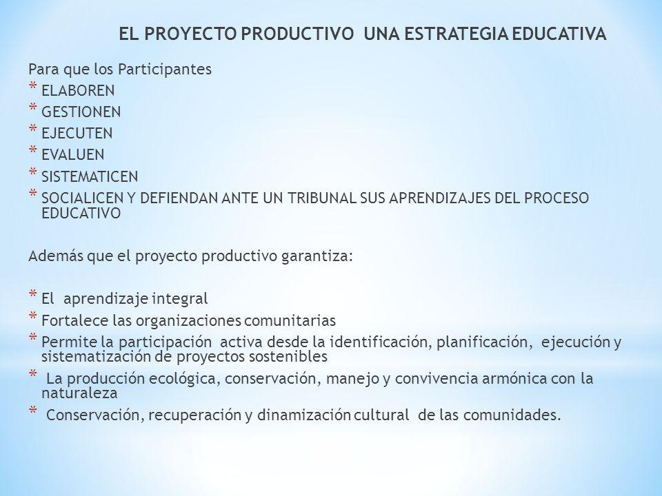 EL PROYECTO PRODUCTIVO UNA ESTRATEGIA EDUCATIVA