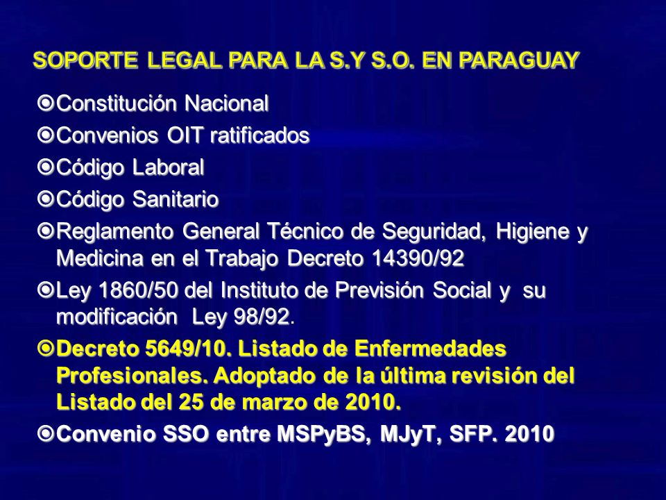 Soporte legal para la S.Y S.O. en Paraguay