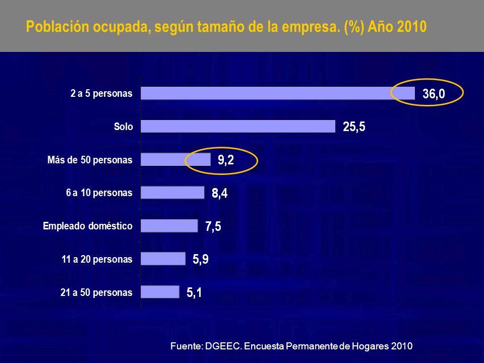 Población ocupada, según tamaño de la empresa. (%) Año 2010
