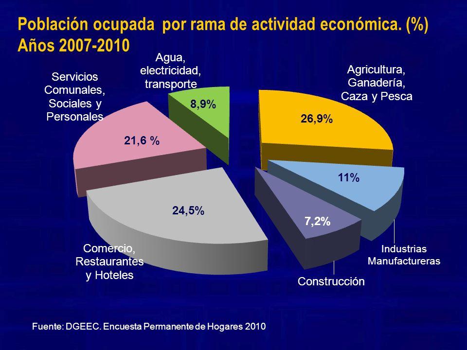 Población ocupada por rama de actividad económica. (%) Años 2007-2010
