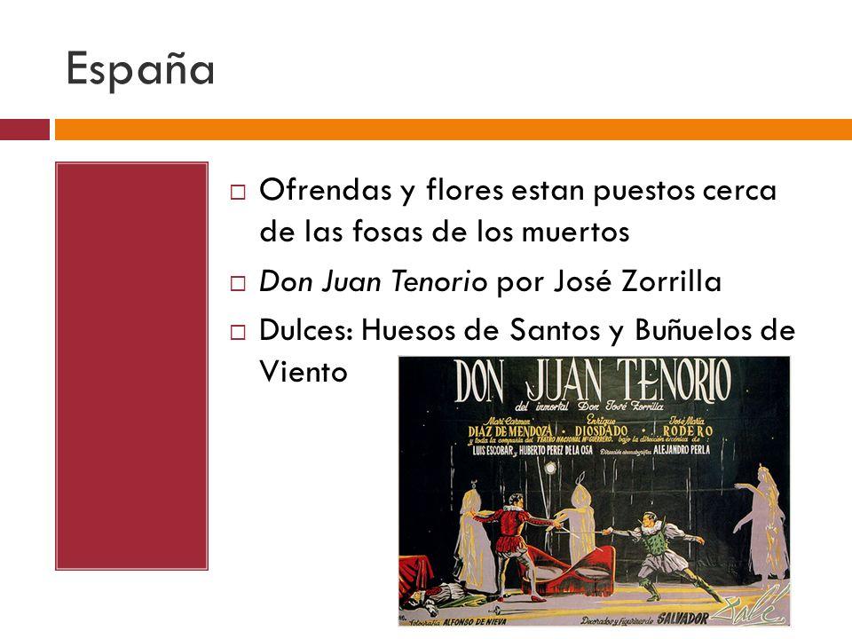 España Ofrendas y flores estan puestos cerca de las fosas de los muertos. Don Juan Tenorio por José Zorrilla.