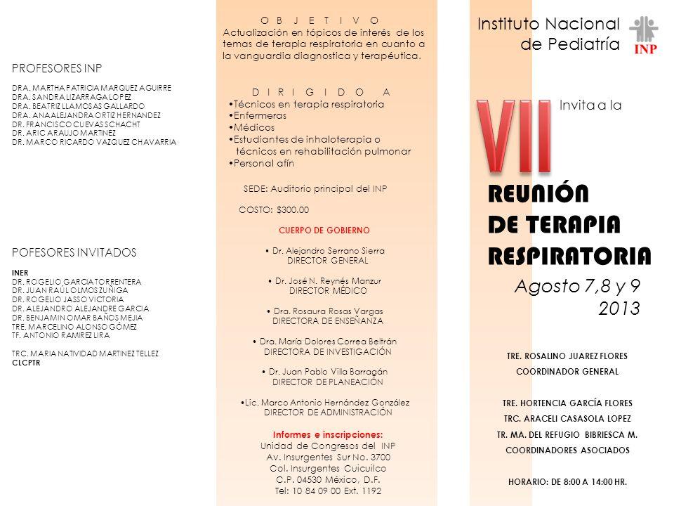 VII REUNIÓN DE TERAPIA RESPIRATORIA Agosto 7,8 y 9 2013