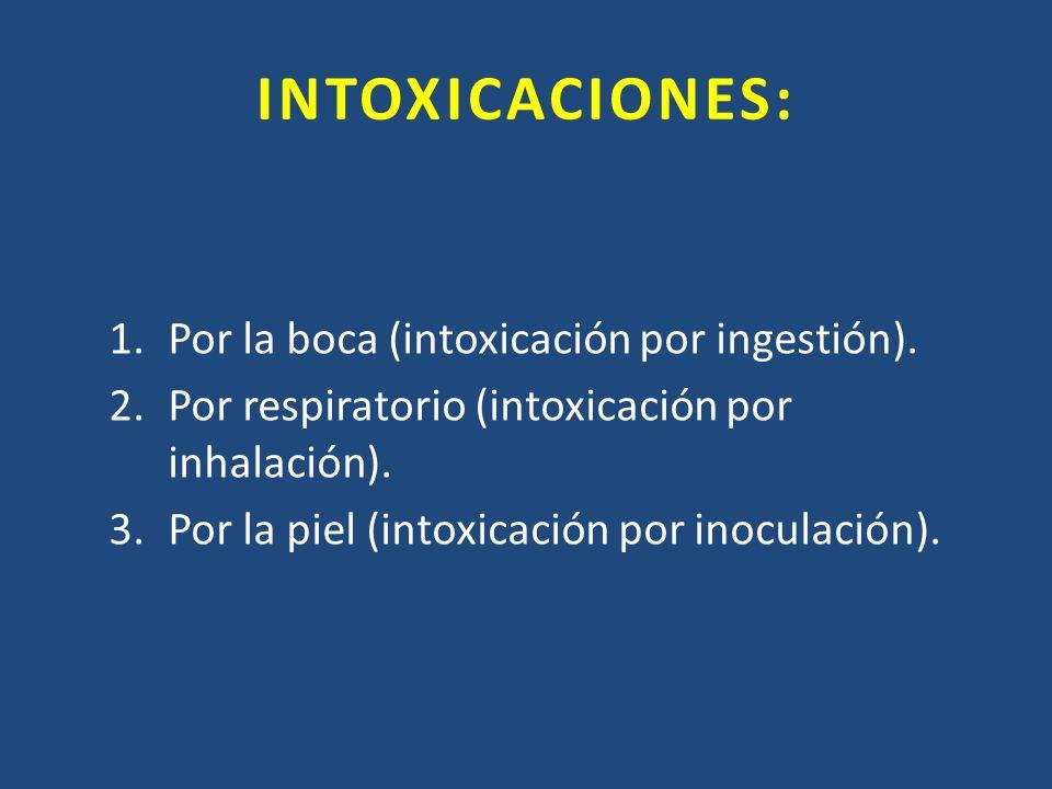 INTOXICACIONES: Por la boca (intoxicación por ingestión).