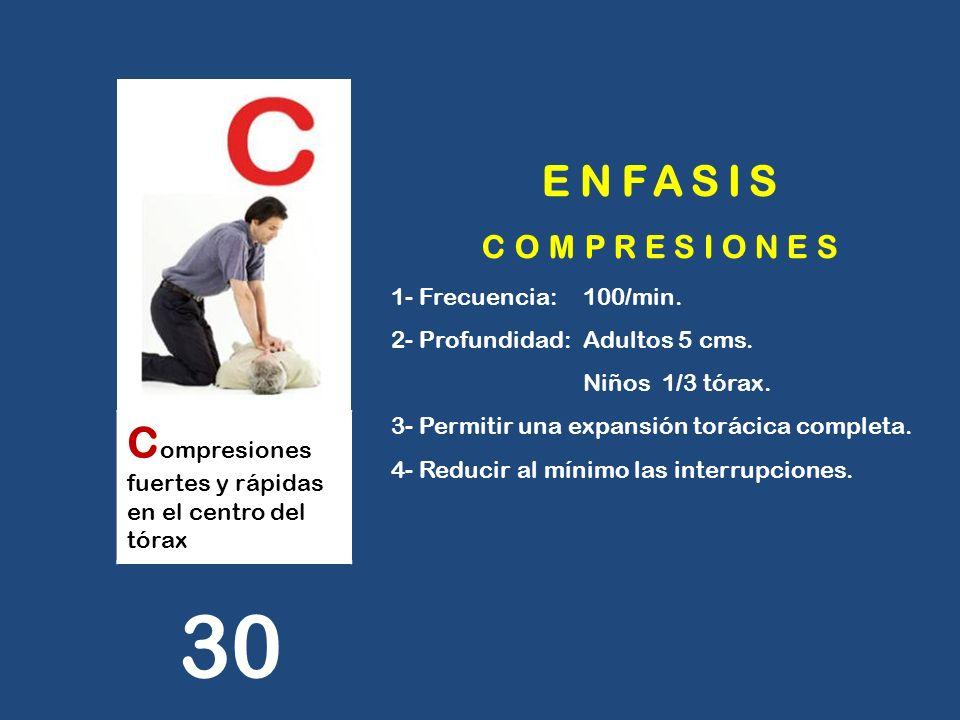 30 ENFASIS Compresiones fuertes y rápidas en el centro del tórax