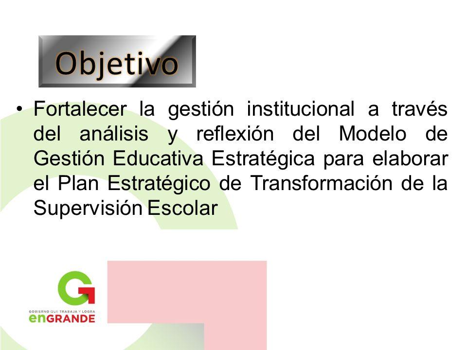 Fortalecer la gestión institucional a través del análisis y reflexión del Modelo de Gestión Educativa Estratégica para elaborar el Plan Estratégico de Transformación de la Supervisión Escolar