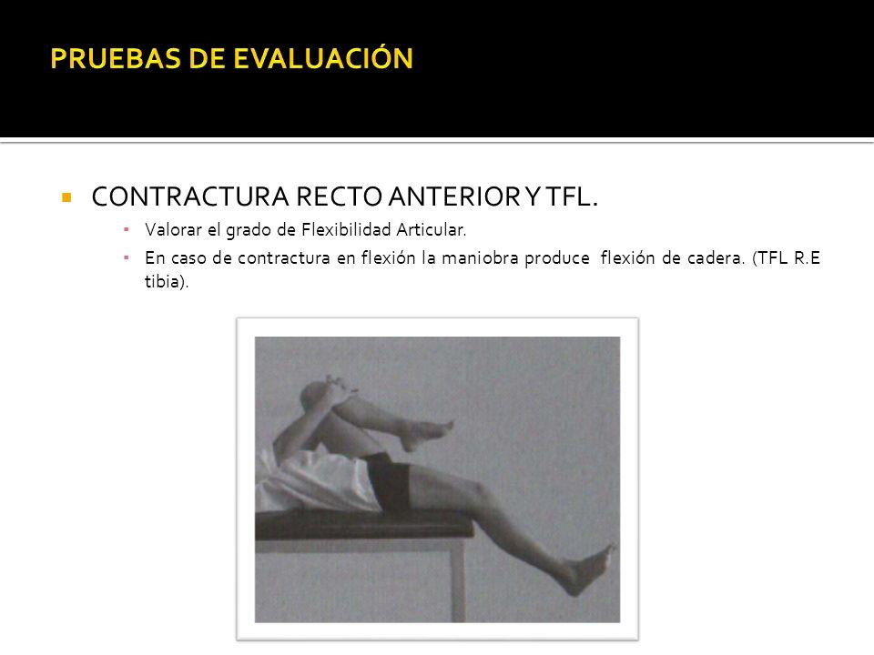 PRUEBAS DE EVALUACIÓN CONTRACTURA RECTO ANTERIOR Y TFL.