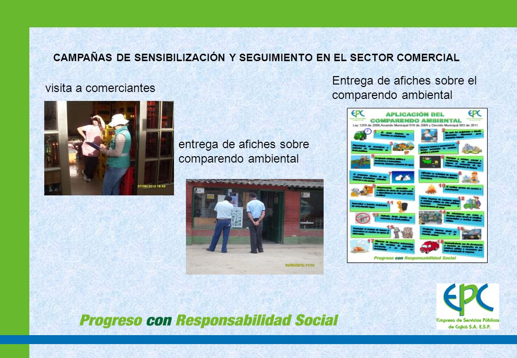 Entrega de afiches sobre el comparendo ambiental visita a comerciantes