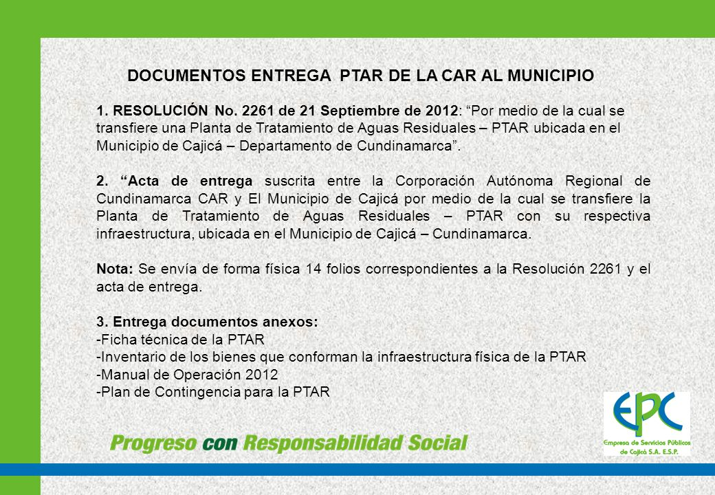 DOCUMENTOS ENTREGA PTAR DE LA CAR AL MUNICIPIO