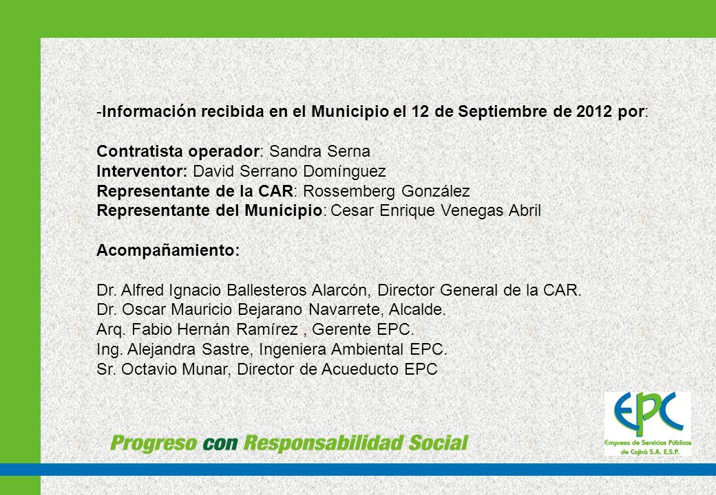 Información recibida en el Municipio el 12 de Septiembre de 2012 por: