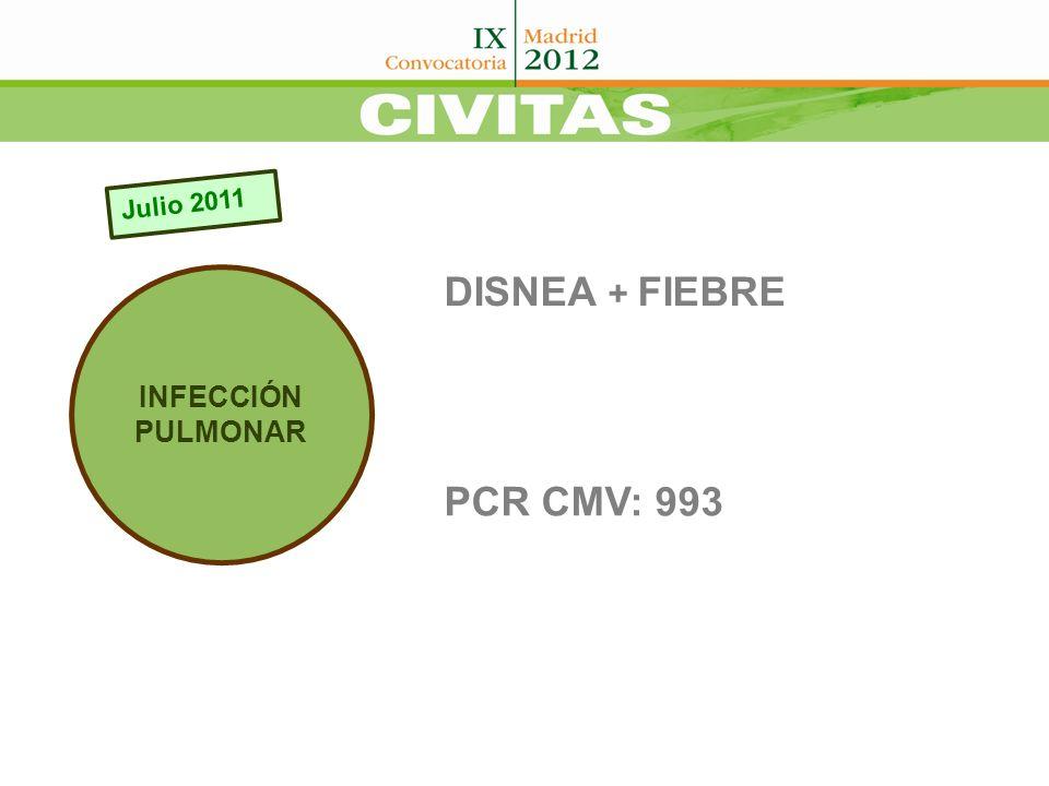 Julio 2011 INFECCIÓN PULMONAR DISNEA + FIEBRE PCR CMV: 993