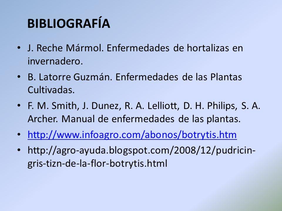 BIBLIOGRAFÍA J. Reche Mármol. Enfermedades de hortalizas en invernadero. B. Latorre Guzmán. Enfermedades de las Plantas Cultivadas.