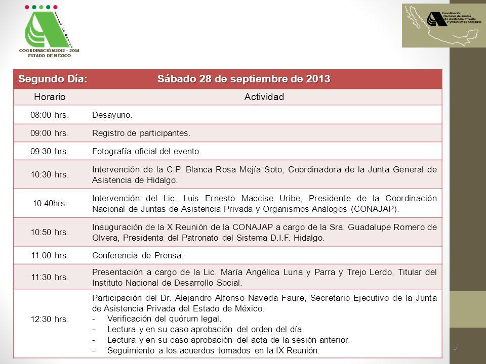Segundo Día: Sábado 28 de septiembre de 2013