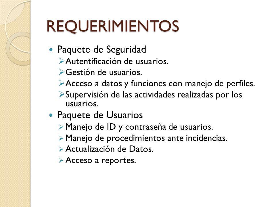 REQUERIMIENTOS Paquete de Seguridad Paquete de Usuarios