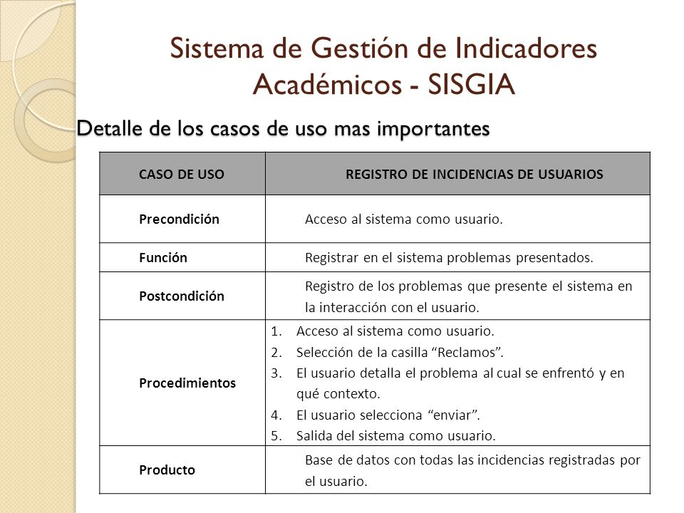 REGISTRO DE INCIDENCIAS DE USUARIOS