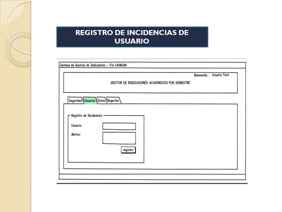 REGISTRO DE INCIDENCIAS DE USUARIO