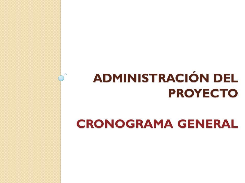 Administración del proyecto CRONOGRAMA GENERAL