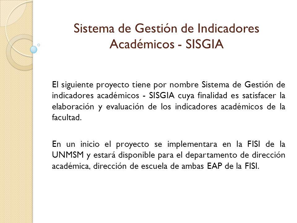 Sistema de Gestión de Indicadores Académicos - SISGIA