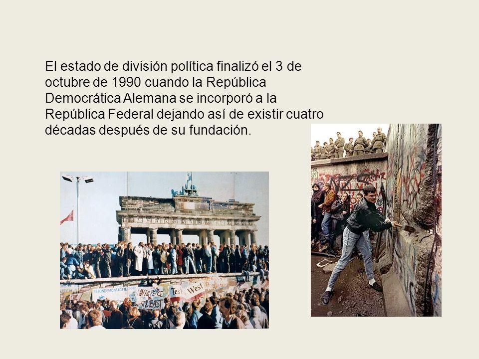El estado de división política finalizó el 3 de octubre de 1990 cuando la República Democrática Alemana se incorporó a la República Federal dejando así de existir cuatro décadas después de su fundación.