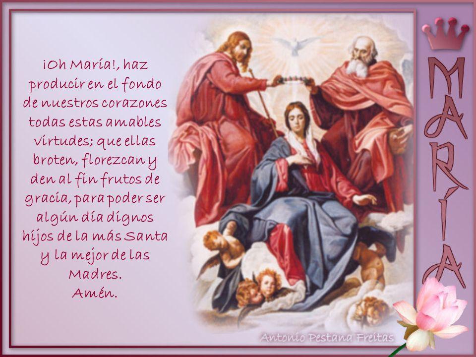 ¡Oh María!, haz producir en el fondo de nuestros corazones todas estas amables virtudes; que ellas broten, florezcan y den al fin frutos de gracia, para poder ser algún día dignos hijos de la más Santa y la mejor de las Madres.