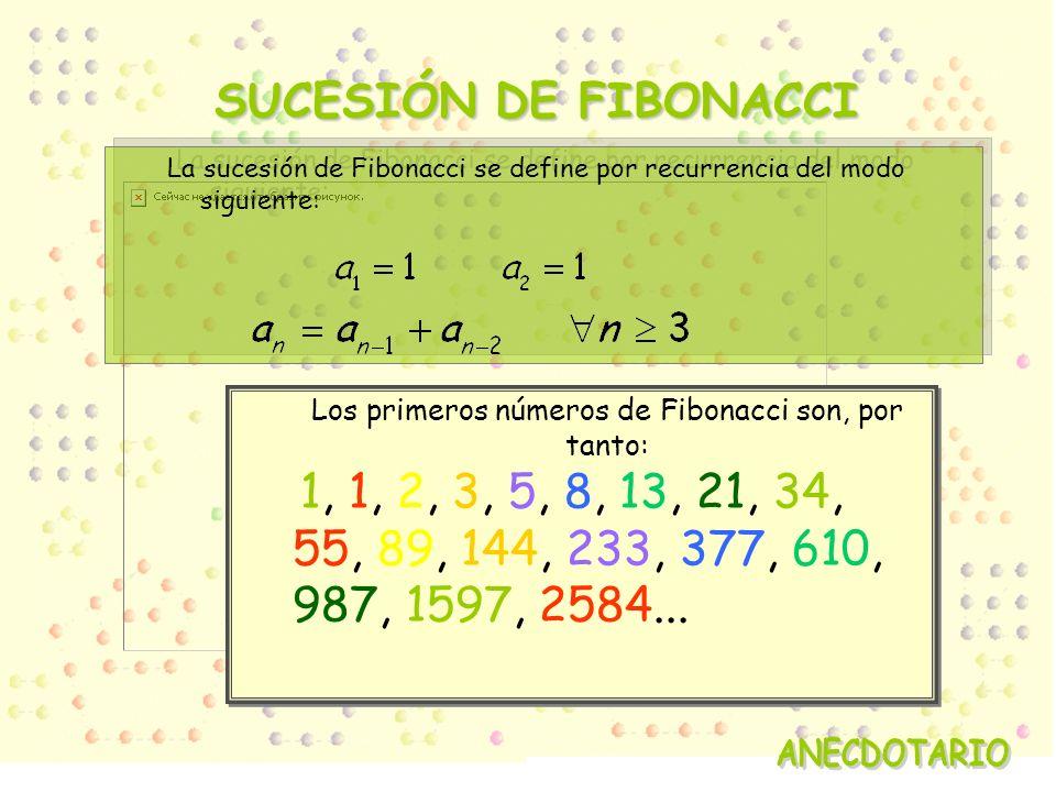 Los primeros números de Fibonacci son, por tanto: