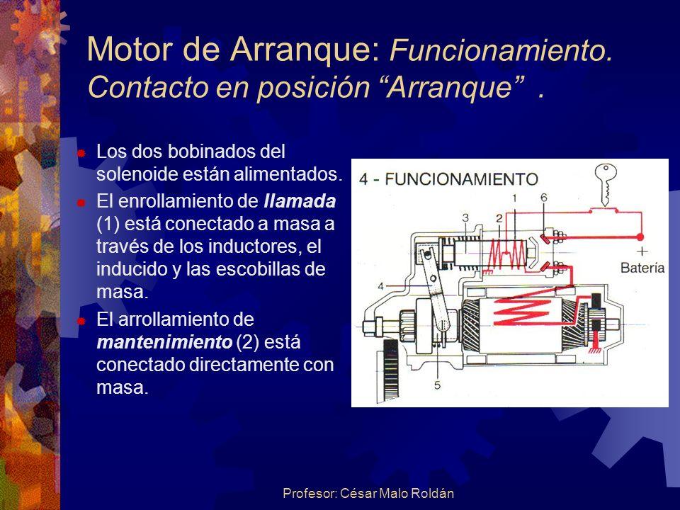 Motor de Arranque: Funcionamiento. Contacto en posición Arranque .